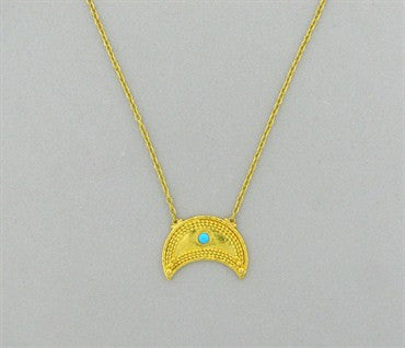 image of New Gurhan 24k Gold Crescent Turquoise Pendant Necklace