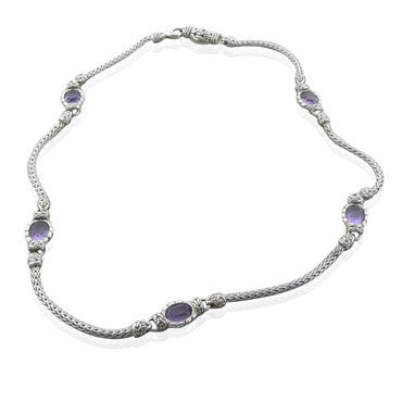 image of Jahn Hardy Batu Mata Sterling Silver Oval Amethyst Sautoir Necklace