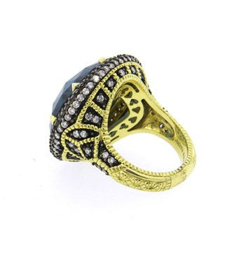image of Judith Ripka 18k Gold London Blue Spinel Diamond Ring