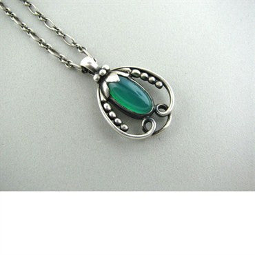 thumbnail image of Georg Jensen Sterling Silver Chrysoprase Necklace