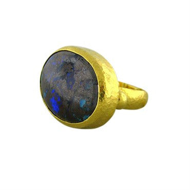 thumbnail image of New Gurhan 24K Gold 35.15ct Boulder Opal Cocktail Ring