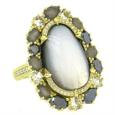 image of Judith Ripka Mother of Pearl Diamond Moonstone Gold Quartz Large Ring