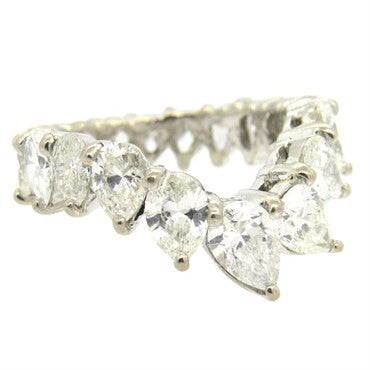 thumbnail image of Mid Century Platinum Pear 5.50ctw Diamond Eternity Wedding Band Ring