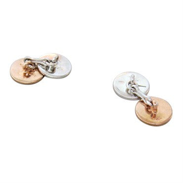 thumbnail image of Pomellato Pour Un Homme Sterling Diamond Gold Cufflinks