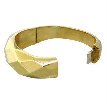 thumbnail image of Faceted Pattern Modern Gold Wide Bangle Bracelet