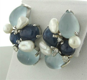 thumbnail image of Seaman Schepps 18K Gold Pearl Diamond Sapphire Aquamarine Earrings