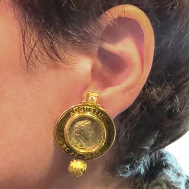 image of Elizabeth Gage Ancient Coin Diamond Gold Earrings