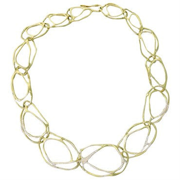 image of Ippolita Drizzle Multi Link Diamond Gold Necklace