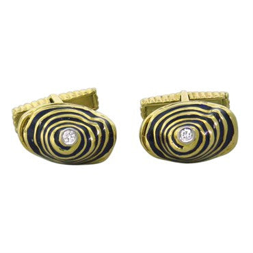 thumbnail image of Unusual 18k Gold Blue Enamel Diamond Cufflinks