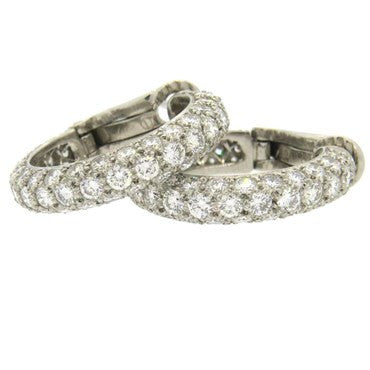 thumbnail image of Tiffany & Co. Etoile 2.60ctw Diamond Platinum Hoop Earrings