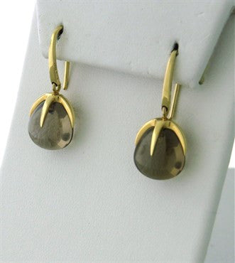 thumbnail image of New Pomellato Veleno 18k Gold Smokey Topaz Drop Earrings