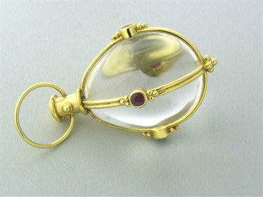 image of Temple St. Clair 18K Gold Rock Crystal Ruby Emerald Sapphire Amulet