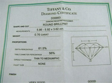 image of Tiffany & Co F VS1 0.76ct Diamond Platinum Engagement Ring