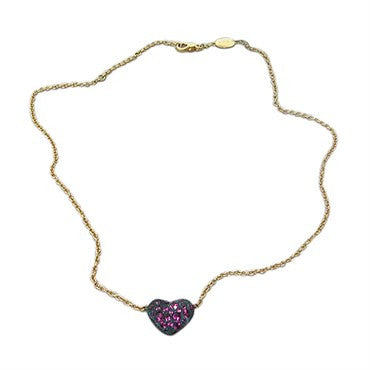 thumbnail image of New Pomellato Tabou 18k Gold Blackened Silver Rhodolite Heart Necklace