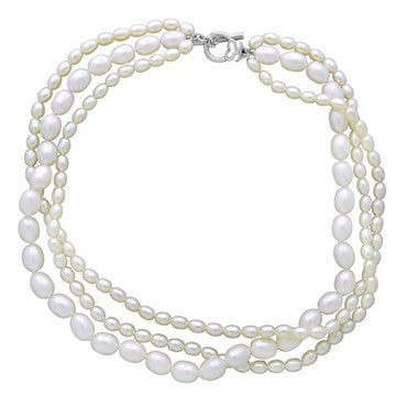 image of Slane & Slane Sterling Silver Pearl Multi Strand Necklace