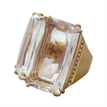 image of H Stern Cobblestone 18K Gold Diamond Crystal Ring