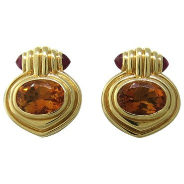 image of Bulgari Bvlgari Citrine Ruby Gold Earrings