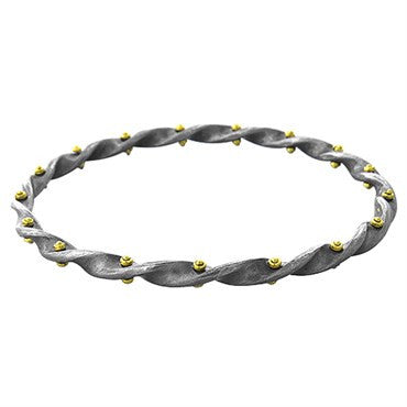thumbnail image of Gurhan Blackened Sterling Silver 24k Gold Midnight Twist Bracelet
