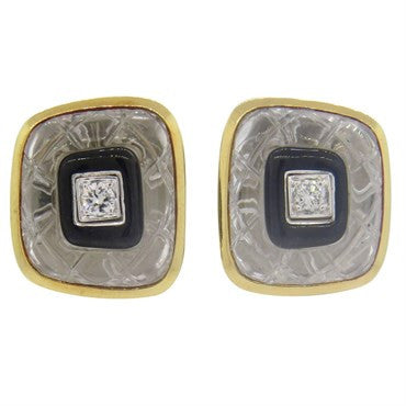 thumbnail image of David Webb Carved Crystal Onyx Diamond Gold Platinum Earrings