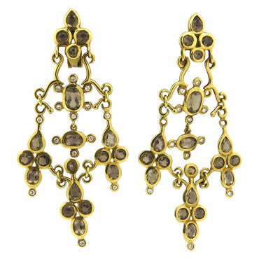 thumbnail image of H. Stern 18k Gold Diamond Smokey Quartz Chandelier Earrings