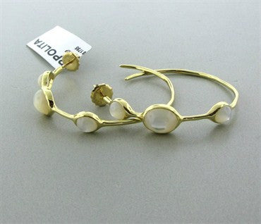image of New Ippolita 18K Gold Rock Candy Mother Of Pearl Hoop Earrings