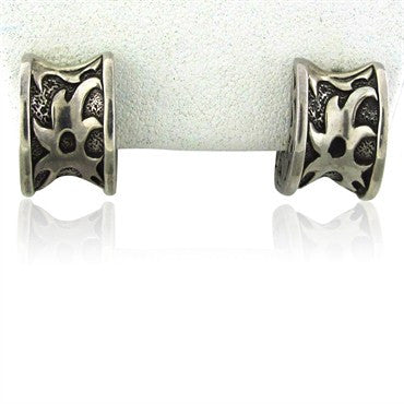 image of Estate John Hardy Sterling Silver Wide Huggies Earrings