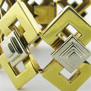 thumbnail image of Vintage Tiffany &Co 18k Gold Bracelet Geometric Pattern