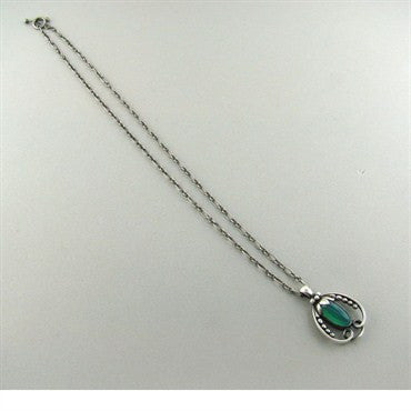 image of Georg Jensen Sterling Silver Chrysoprase Necklace