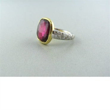thumbnail image of Pomellato Sherazade 18k Gold Tourmaline Diamond Ring