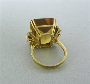 thumbnail image of Large Vintage H. Stern 18K Yellow Gold Citrine Diamond Ring