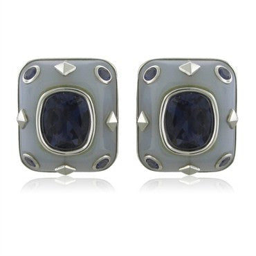 image of Trianon 18K White Gold Chalcedony Iolite Earrings