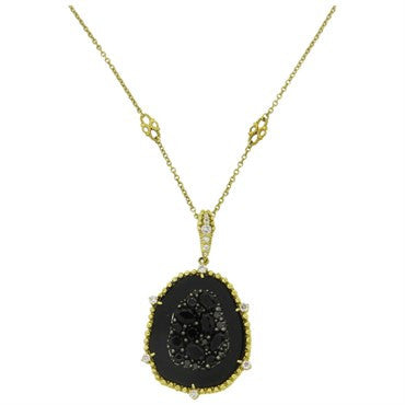 image of Judith Ripka Oasis 18K Gold Onyx Diamond Pendant Necklace