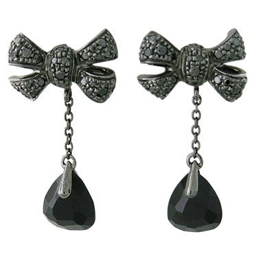 image of New Pomellato Forever 18k Gold Black Diamond Onyx Bow Drop Earrings