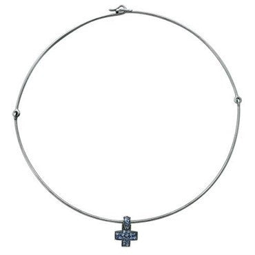 image of New Pomellato 18k Gold Sapphire Cross Pendant Necklace