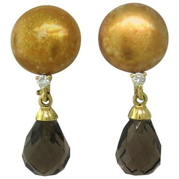 image of Trianon Gold Diamond Smokey Topaz Pearl Drop Earrings