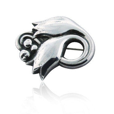 image of Estate Vintage Georg Jensen Sterling Brooch 100