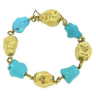 image of 1970s Spritzer and Furman Turquoise 18k Gold Bracelet
