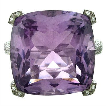 image of Asprey 18K White Gold Diamond Amethyst Ring