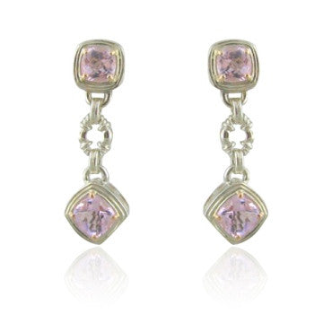 image of Krypell Sterling 18k Gold Pink Topaz Earrings
