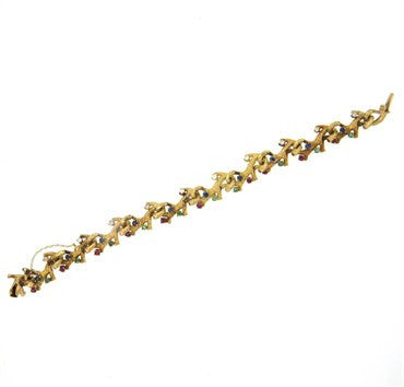 thumbnail image of Naturalistic 14K Gold Diamond Emerald Ruby Sapphire Bracelet