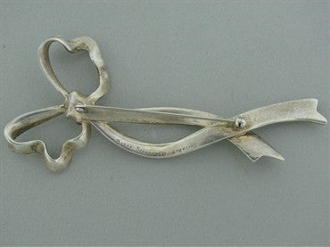 image of Vintage 1985 Estate Tiffany & Co Sterling Silver Ribbon Brooch