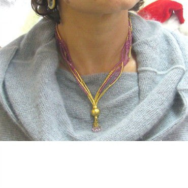 thumbnail image of New Gurhan 24k Gold Ruby Bead Multi Strand Necklace