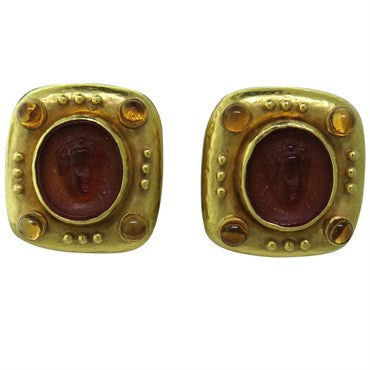 image of Elizabeth Locke Carnelian Intaglio Citrine Gold Earrings