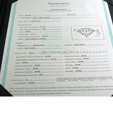 image of Tiffany & Co H VVS1 0.80ct Diamond Engagement Ring