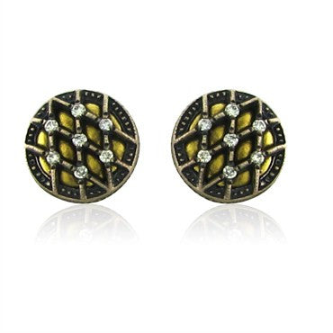 thumbnail image of New Gurhan Capitone Collection 24K Gold Diamond Round Stud Earrings