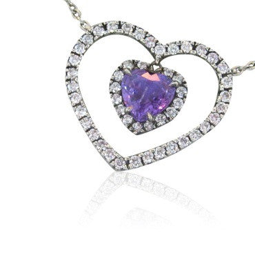 image of Fred Leighton Platinum Diamond Purple Sapphire Necklace