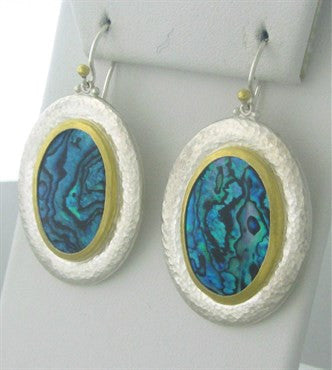 image of New Gurhan 24K Gold Sterling Silver Paua Shell Large Drop Earrings