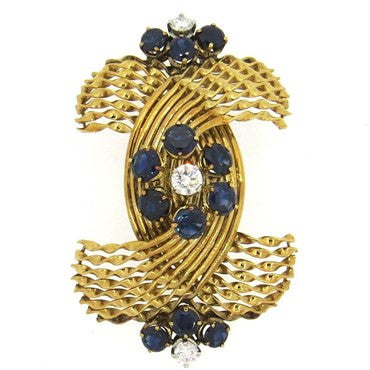 image of French 1960s Sapphire Diamond 18k Gold Brooch Pin