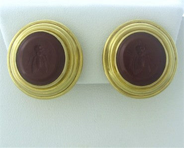 image of Elizabeth Locke 18k Gold Carnelian Intaglio Earrings