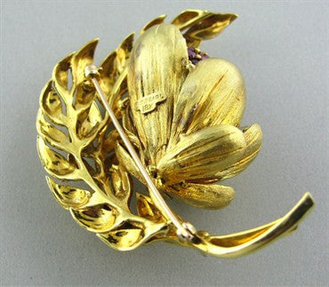 image of E. Pearl 18K Gold Flower Leaf Ruby Diamond Brooch Pin